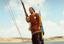 Kenneth Eriksson aboard the Viking ship Vidfamne in the summer of 1994.